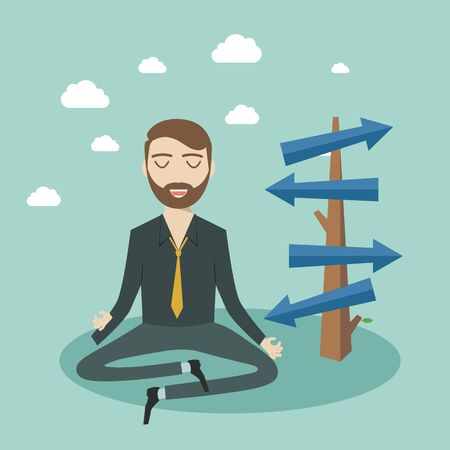 Thinking businessman meditating front of crossroad and selecting the best solution. Possibilities for business concept. Vector colorful flat illustration. - Vector illustration