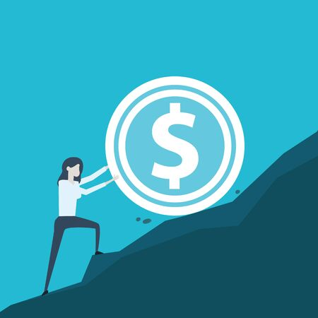 Young woman doing business rolling up the hill an dollar coin. Flat design illustration for financial and investmen. Trendy vector illustration concept for website and mobile app. - Vector illustration
