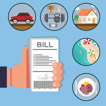 Paying bills, hand holding bills vector illustration.