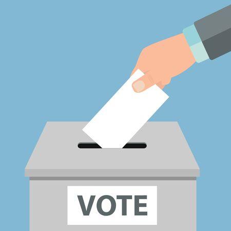 Notion de vote. Mettre du papier blanc dans l'urne à la main Vector illustration Vecteurs