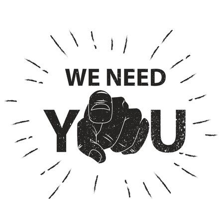 We need you concept vector illustration. Retro human hand with the finger pointing or gesturing towards you