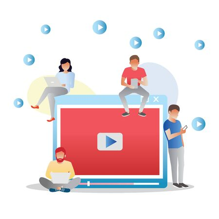 Video concept illustration of young people using mobile gadgets, tablet pc and smartphone for live watching a video via internet. Flat design of guys and women staying near big player symbol Illustration