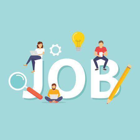 Búsqueda de empleo, carrera, autónomo, empleo, contratación. Inscripción obra y personas. Ilustración de vector de diseño plano - ilustración vectorial