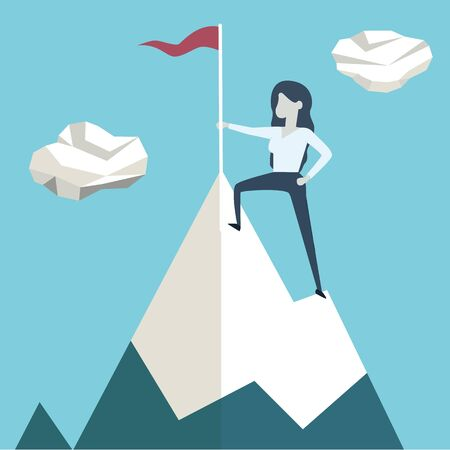 Woman with flag on a Mountain peak, Business success concept - Vector illustration Ilustrace