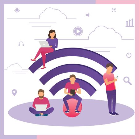 Young man sitting on the wi-fi white sign and using laptop, women reading news on tablet, guy holds smartphone and teenager sitting with laptop. Flat illustration of social networking with gadgets.