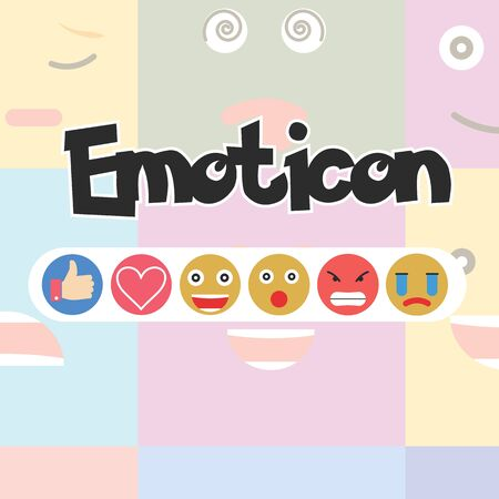 Set of Emoticon, Social media reactions - Vector