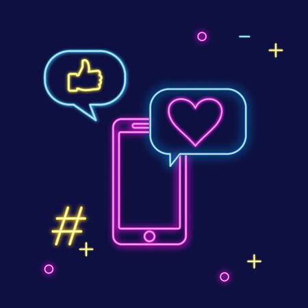 Neon sign of social media app for chatting, following and sharing memes. Bright vector neon light illustration of smartphone with speech bubble and feedback message in social networks - Vector illustration