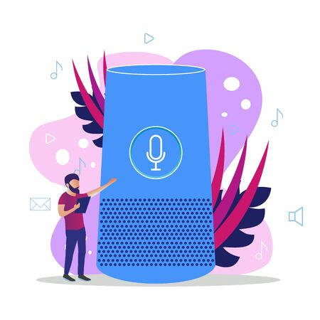 User with voice controlled smart speaker or voice assistant. Voice activated digital assistants, home automation hub Ilustração