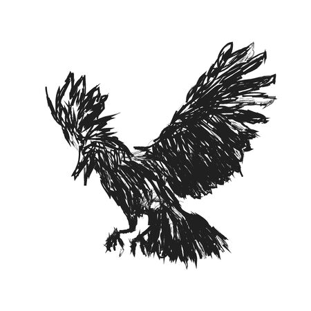 Detailed crows painted in ink on a white background. Crow wings, grunge. A detailed raven with wings. Shades of gray. - Vector