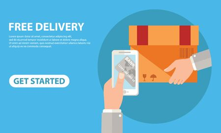 Free delivery for clients how pay by credit card via mobile app. Flat vector neon website template and landing page design of human hand holds smart phone and paying online by card using ecommerce app - Vector Ilustração