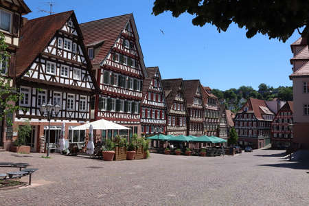 Calw, Baden-Württemberg / Germany - June 02 2019: Timbered houses in the city center of Calw, Germany - old medieval town