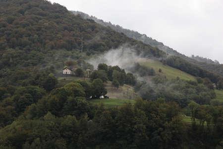 Casima, Canton Ticino (TI) / Switzerland - September 29 2013: Vilage Casima in Canton Ticino, located in the valley Muggio on a foggy autumn day Imagens