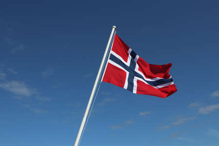 Norwegian flag waving in the wind