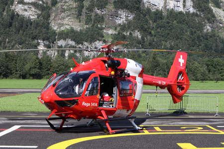 Mollis, Kanton Glarus (GL) / Switzerland - August 16 2019: Search and Rescue Helicopter Airbus H145, Swiss REGA, Exhibition Zigermeet 2019 in Mollis