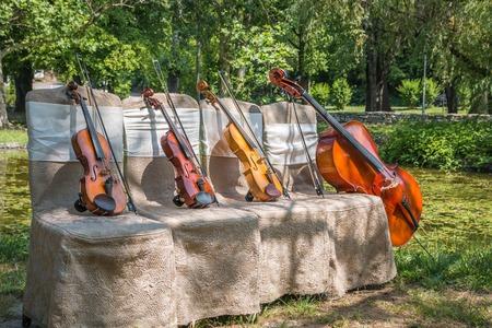 Muziek en natuurconcept. Snaarinstrumenten, een cello en drie violen op de ceremoniële stoelen in de natuur. Detailopname.