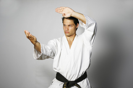 Karate Man in fight stance Stock Photo
