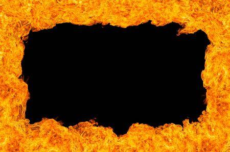 fireside: Burning fire frame isolated on black
