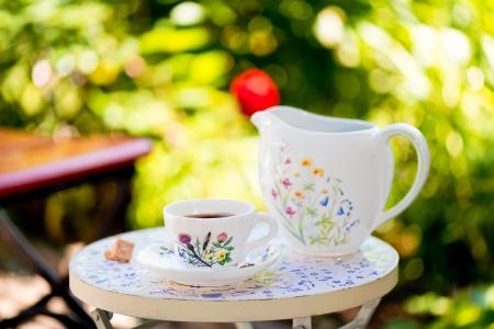Coffee table in garden Standard-Bild