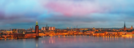 Stockholm Panorama with the city hall just before sunrise Stock Photo - 16433951