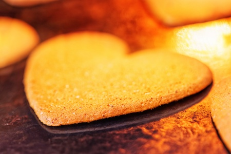 Heart shaped ginger cake in hot oven Stock Photo - 16646112