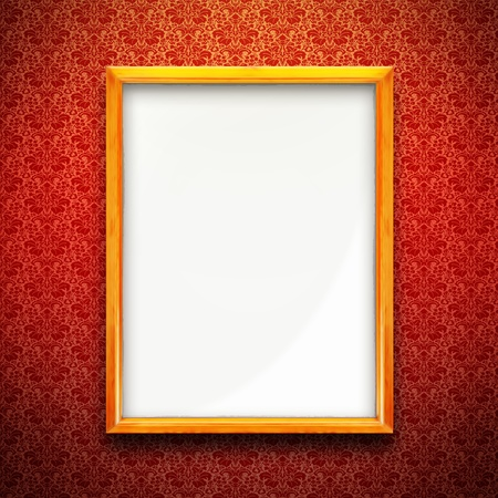Golden picture frame on red wall, vintage wallpaper background Stock Photo - 17154354