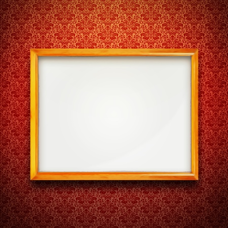 Gold frame on red vintage victorian wallpaper  Stock Photo - 17154356
