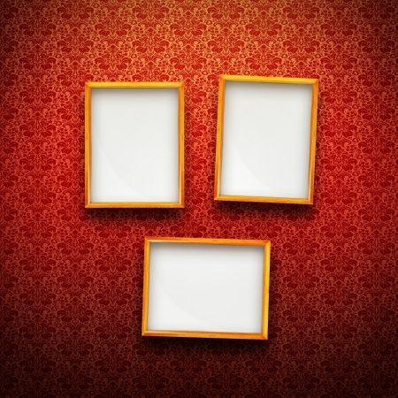 Three Picture frames in gold on red vintage background Stock Photo