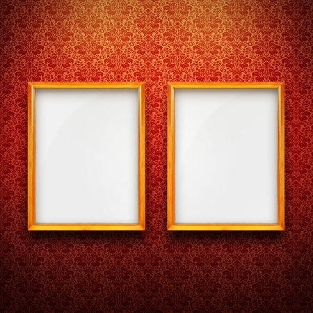Empty golden frames with red vintage wallpaper Stock Photo - 17154359