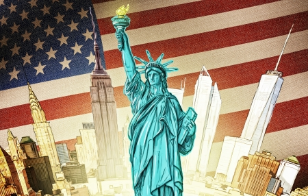 composit: Statue of Liberty with manhattan and american flag backdrop