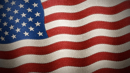 United States of America flag waved and crunched on fabric, texture and seams, Illustration Stock Photo