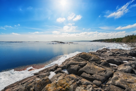 Coast of Baltic sea in early spring, Grisslehamn, Sweden Stock Photo