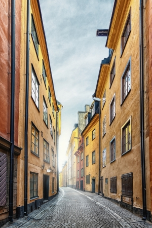 The Old Town in Stockholm, Gamla Stan, Prastgatan - Sweden Stock Photo
