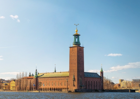 Scenic spring view of the City Hall in Stockholm, Sweden Stock Photo