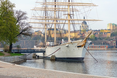 The popular Hostel Ship Af Chapman in early summer, Stockholm, Sweden Stock Photo