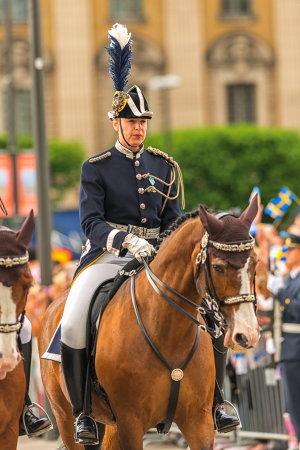royal wedding: STOCKHOLM, Sweden - JUNE 8: The Royal Wedding between Princess Madeleine and Chris O�Neill and the parade with the guards before the wedding carriage. June 8, 2013, Stockholm, Sweden