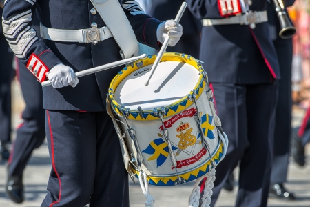STOCKHOLM, Sweden - JUNE 8: The Royal Wedding between Princess Madeleine and Chris O�Neill and the parade with the the Army Music Corps featuring a drummer. June 8, 2013, Stockholm, Sweden Editorial