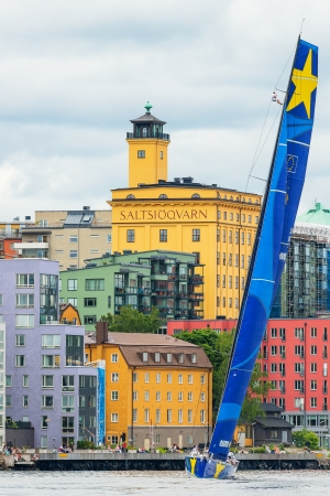 STOCKHOLM - JUNE, 30: Sailboat Esimit Europa 2 departs from Stockholm in the ÅF Offshore Race (Gotland runt) class ORC A, also a Seaman in the mast, June 30, 2013 in Stockholm, Sweden