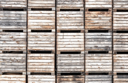 Old empty apple crates stacked up photo