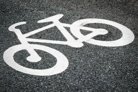 Asphalt with bicycle sign  swedish type  Stock Photo