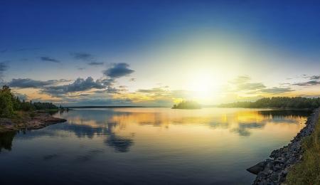 Coastal sunset over archipelago in late summer, Sweden photo