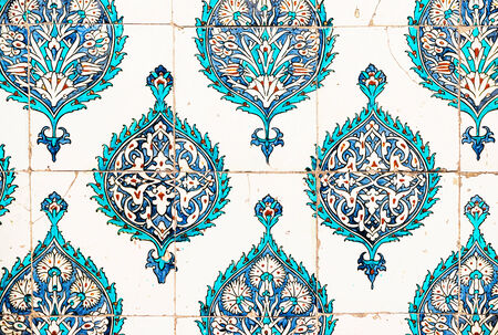 Ancient blue and cyan ceramic plates from the Topkapi palace in Istanbul, Ottoman era photo