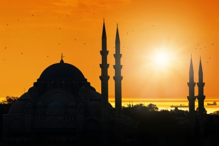Mosque silhouette during sunset in Istanbul Turkey, Suleymaniye Mosque