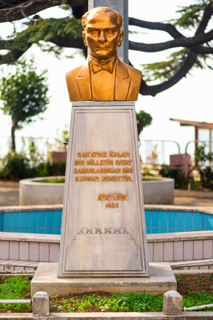 ISTANBUL, TURKEY - NOV 20: Statue or bust of the former leader Ataturk in a highschool in the Fatih district in Istanbul on November 20 in Istanbul, Turkey. Editorial