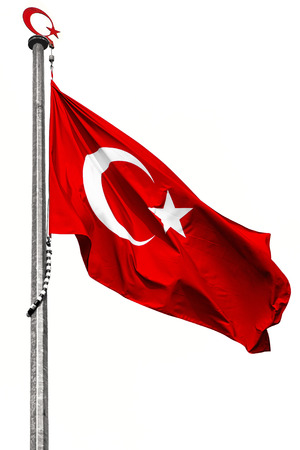 Turkish flag waving in the wind on white
