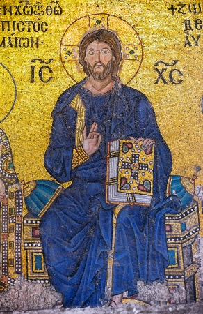 ISTANBUL, TURKEY - NOV 20  A Byzantine mosaic showing Jesus Christ is sitting on a throne decorated with jewels, from the 12th century, Hagia Sophia on November 20 in Istanbul 2013, Turkey