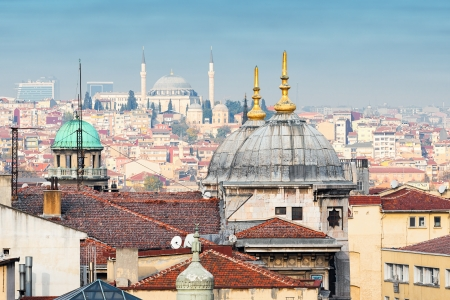 eminonu: Rooftop view over Istanbul and the Eminonu district with a mosque in the horisont
