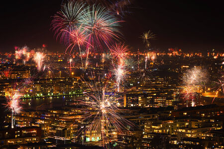 Fireworks over Stockholm and Djurgarden during new year photo