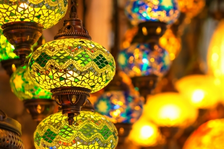 Traditional vintage Turkish lamps and lanterns in the evening