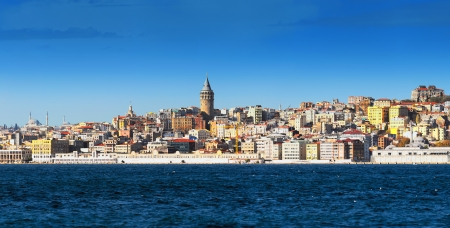 Galata Karakoy district of Istanbul, Turkey and historic architecture and medieval Galata tower in the center Stock Photo