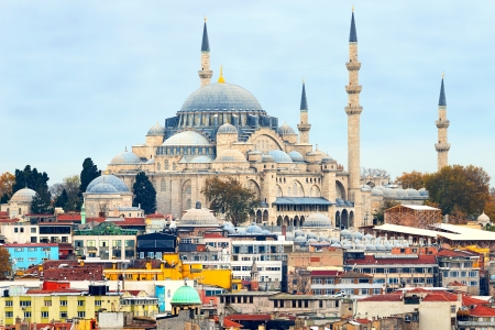 The Blue Mosque or Sultan Ahmet Cami as seen from the Topkapi Palace in Istanbul, Turkey